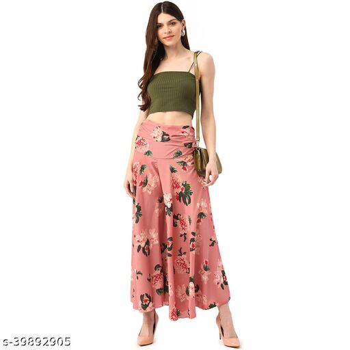 Pink Floral Print Skirts
