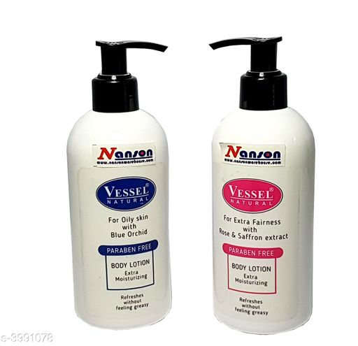 Vessel Natural Paraben Free Body Lotion Combo(Blue Orchid+Rose & Saffron extract)
