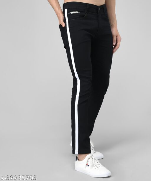 UNITED DENIM Men's Denim Solid Black Side Stripe Jeans