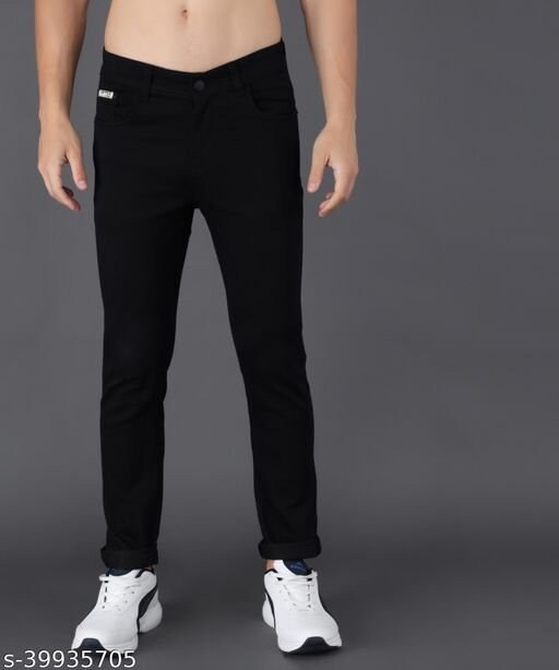 UNITED DENIM Men's Slim Fit Jeans (UD0025_Black)