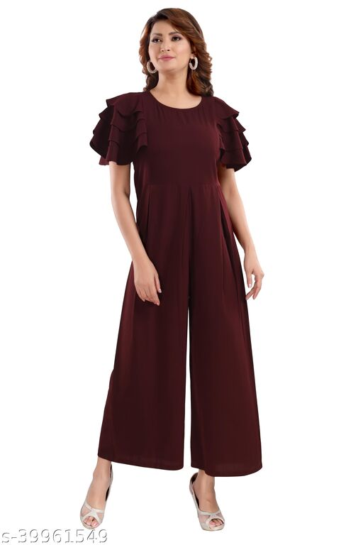 Relaxed Fit Jumpsuit With Ruffled Sleeves