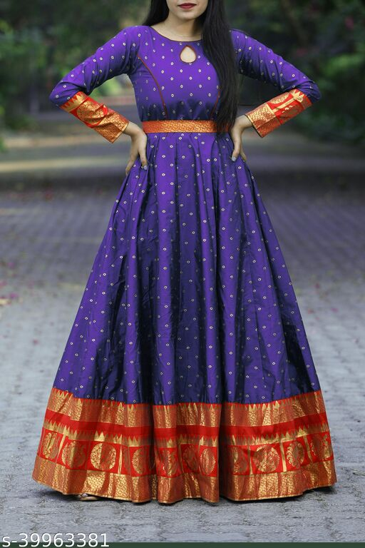 Gleaming Wine Colored Partywear Woven Soft Silk Gown
