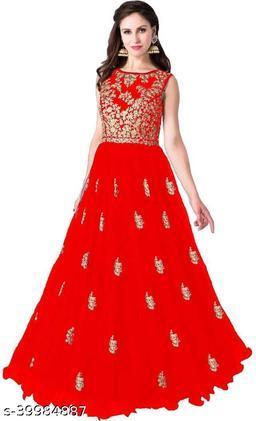 Amazing Anarkali Net Embroidery Work Semi-Stitched Gown