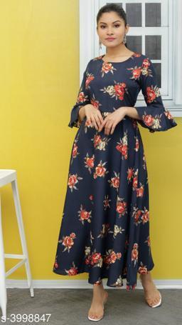 Women's Printed Navy Blue Polyester Dress