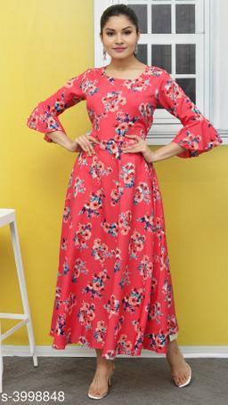 Women's Printed Pink Polyester Dress