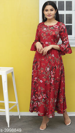 Women's Printed Maroon Polyester Dress