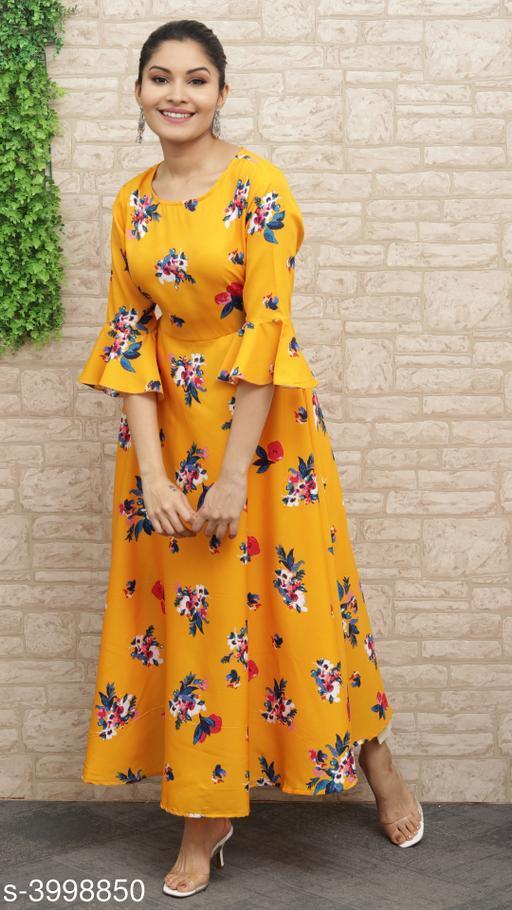 Women's Printed Yellow Polyester Dress