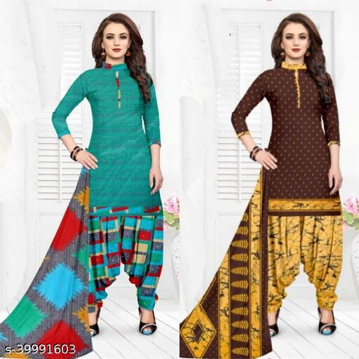 FANCY WOMEN UNSTICHED DRESS MATERIAL COMBO OF 2