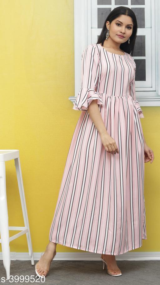 Women's Striped Pink Poly Crepe Dress