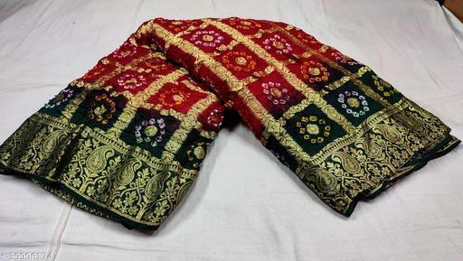Traditional Rajasthani Bandhani Bandhej Gharchola Jaipuri Saree For Women