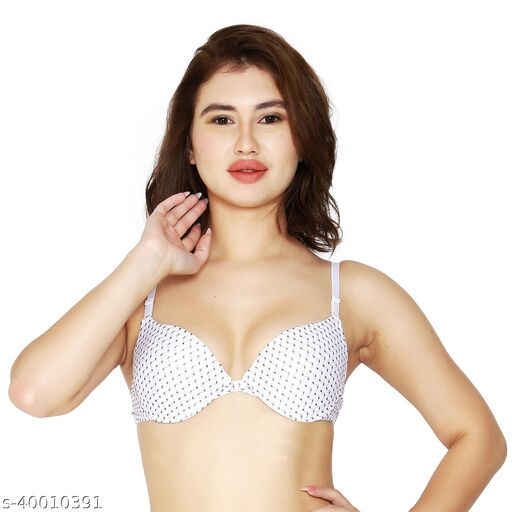 Women's Front Closure Molded Cup Padded Push-Up Bra (White Printed)