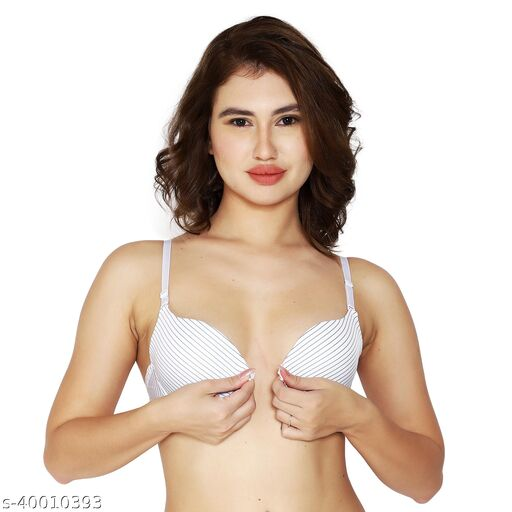 Women's Front Closure Molded Cup Padded Push-Up Bra (White Lining)