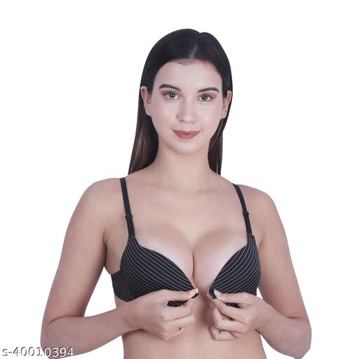Women's Front Closure Molded Cup Padded Push-Up Bra (Black Lining)