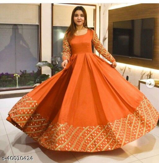 Gorgeoue Orange Colored Embrodired Party Wear Gown
