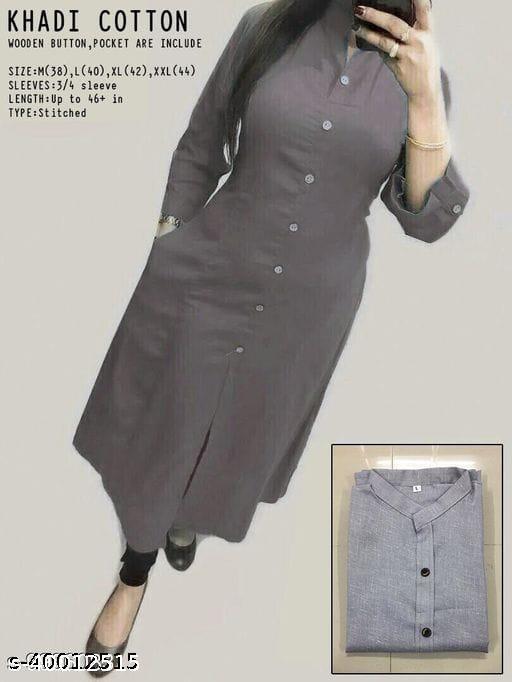 Women Cotton A-line Solid New Kurti