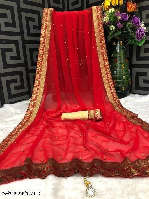 Heer Enterprise Women's Georgette Moti Work Beaded And Jacquard Lace Border Party Wedding Fashion Sarees Red Color