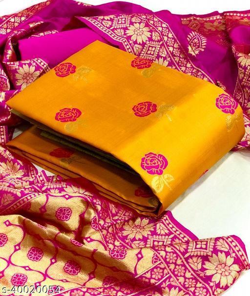 Ayka Banarasi Silk Orange Jacquard Modal Blend Floral Printed Dress Material With Matching Dupatta