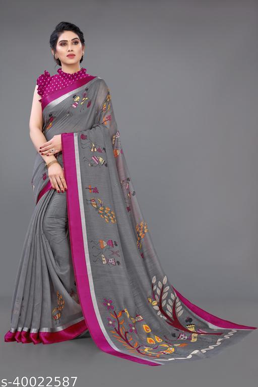 Sourbh Fashion Cotton Blend Warli Print Saree With Unstitched Blouse Piece.