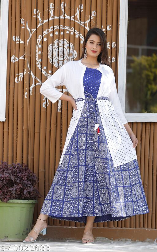 Rayon kurta with jacket for girls and women