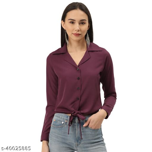 Magenta Solid Front Knot Shirt