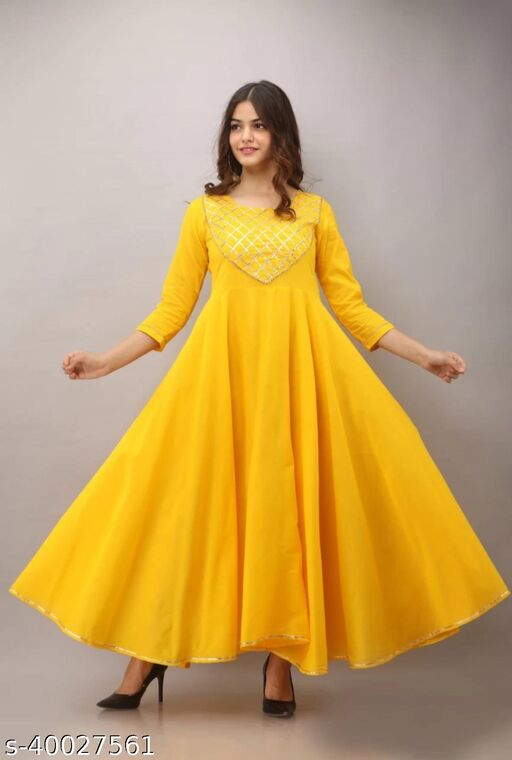 Yellow Rayon Flared Ankle Length Gown with Gota Work