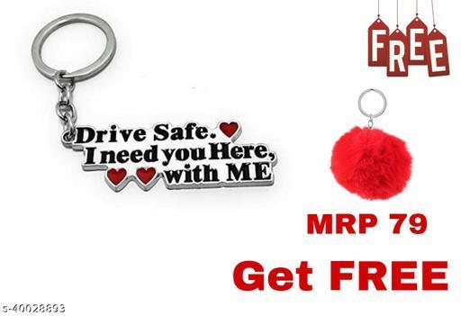 Abate Drive Safe (Couple ) Key Chain ( Free Velvet Soft Key Chain)