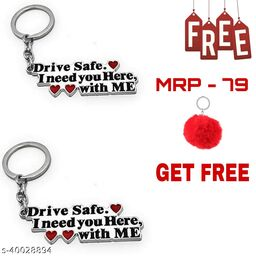 Abate Pack Of 2 Drive Safe (Couple ) Key Chain ( Free Velvet Soft Key Chain)