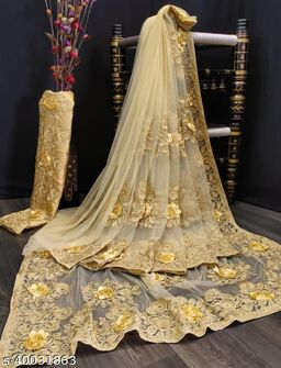Heavy Net with Heavy Embroidery Work & Attached Flowers