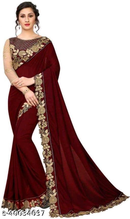 Designer Embroidered lace Border Attractive Sensational Sarees