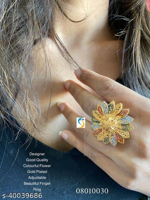 New design good quality colourful flower adjustable beautiful finger ring.