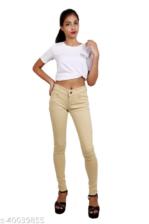 CEFALU SLIM FIT STRECHABLE JEANS FOR GIRLS AND WOMEN IN BIEGE COLOUR