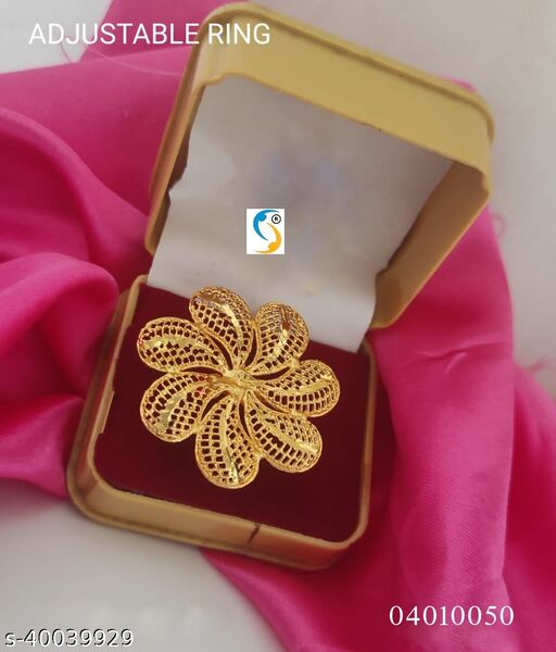 New design premium quality high gold plated micro finish beautiful adjustable flower finger ring