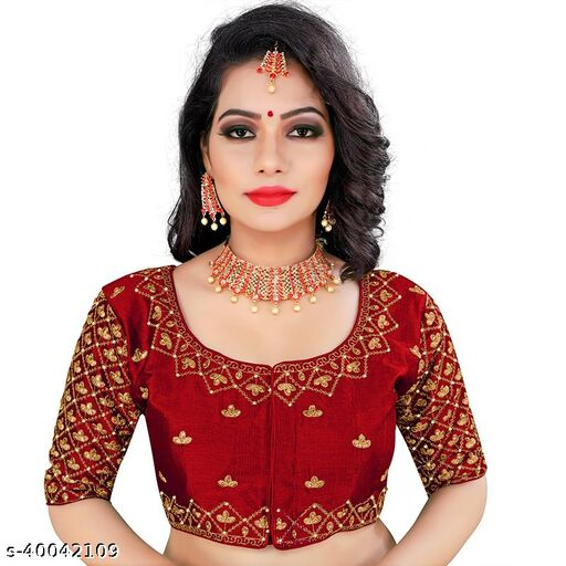 Embroidered Round Neck Women Blouse With Heavy Stone Work And Hand Work