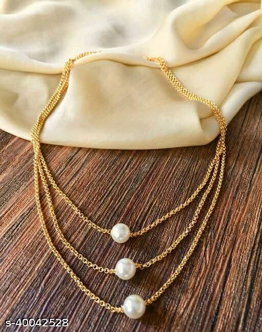 Women's Pearl And Gold Plated Necklaces & Chains
