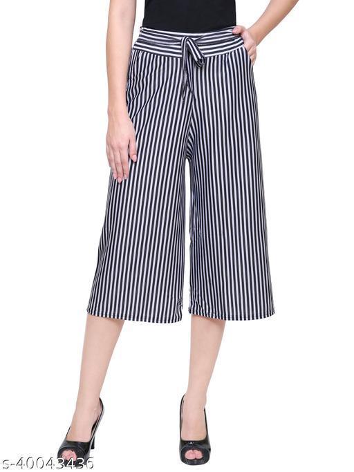 DAMEN MODE Women Striped Capri Black