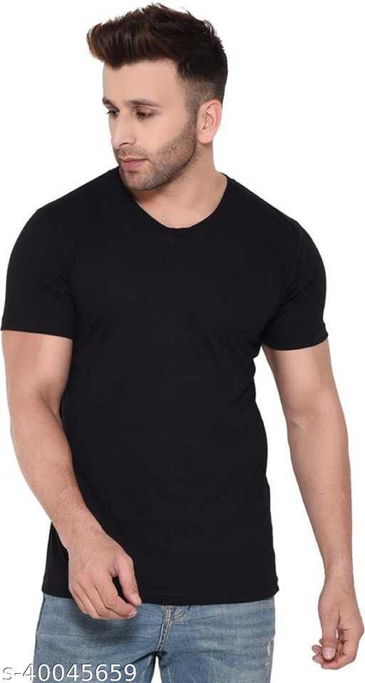 Trendy Cotton Black Solid Half Sleeves T Shirt