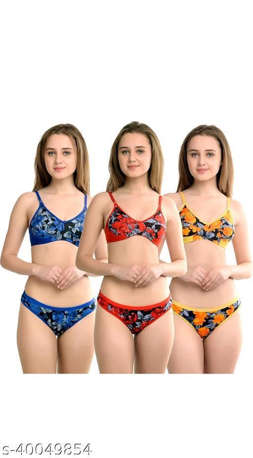 Women Floral Multicolor Cotton Lingerie Set (Pack of 3)