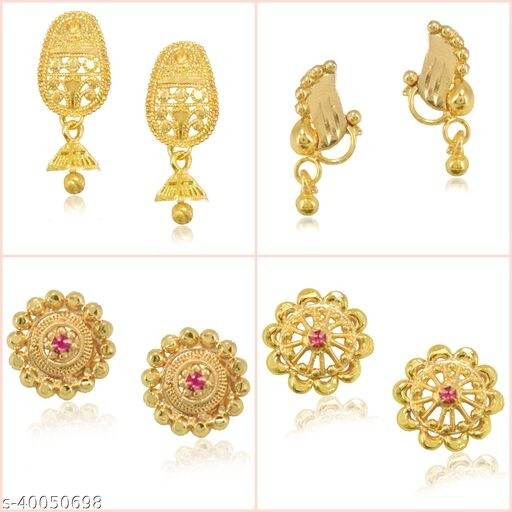 Jewels Galaxy Jewellery For Women Multicolor Gold Plated Earrings Combo