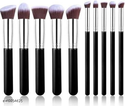 Black makeup brushes set of 10