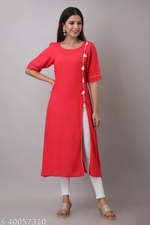Le Fhirangi Women Embellished Rayon Frontslit Kurta  (Red)