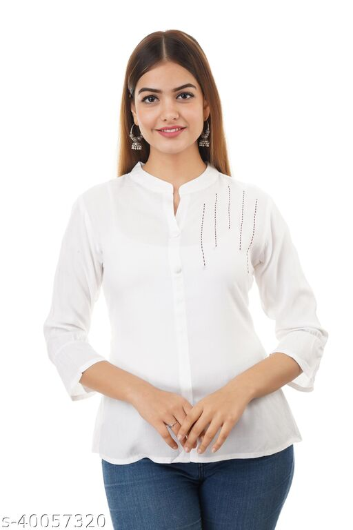 Le Fhirangi Women Casual 3/4 Sleeve Solid Women White Top