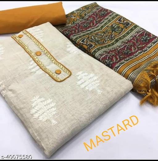 Khadi Cotton Unstitch Suite Banglory Dupatta