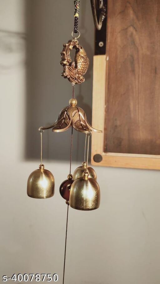 DruArts Metal Wind Chimes for Home Balcony Garden Positive Energy, Home Decor Hanging Long Brass Bells Gifts for Loved Ones 3 Bells