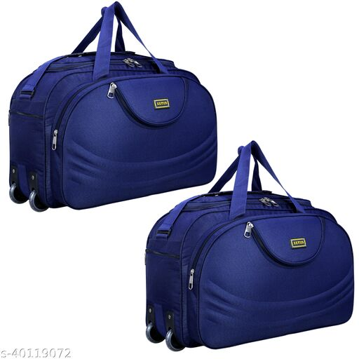 Combo Set of 2 Luggage - (54 Cm) Unisex Expandable Foldable Travel Duffel Bag/Duffel Strolley Bag With Wheels