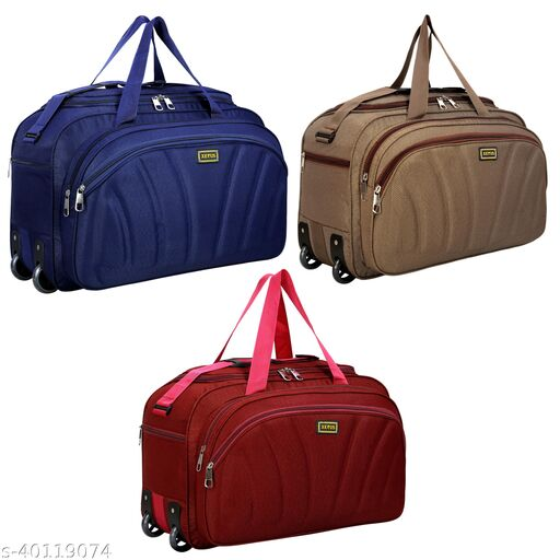 Combo Set of 3 Luggage - (54 Cm) Unisex Expandable Foldable Travel Duffel Bag/Duffel Strolley Bag With Wheels