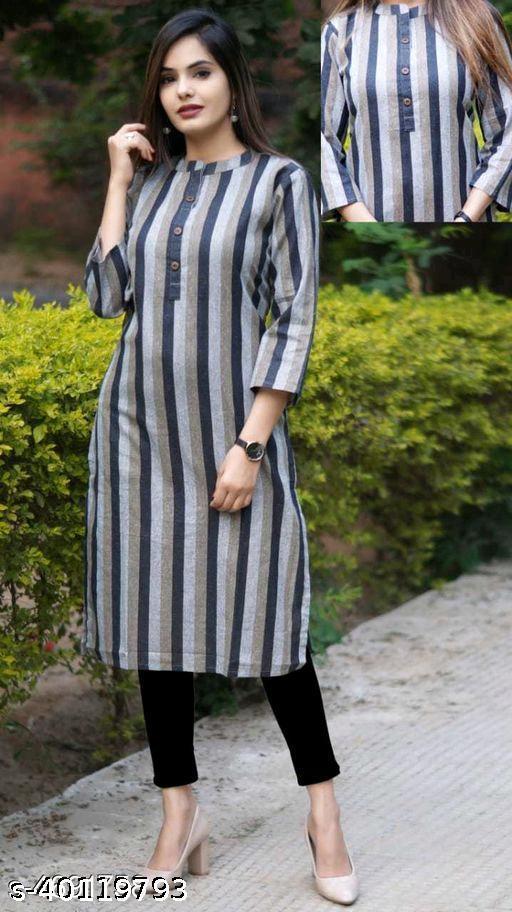 Women Khadi Cotton A-line Striped Kurti