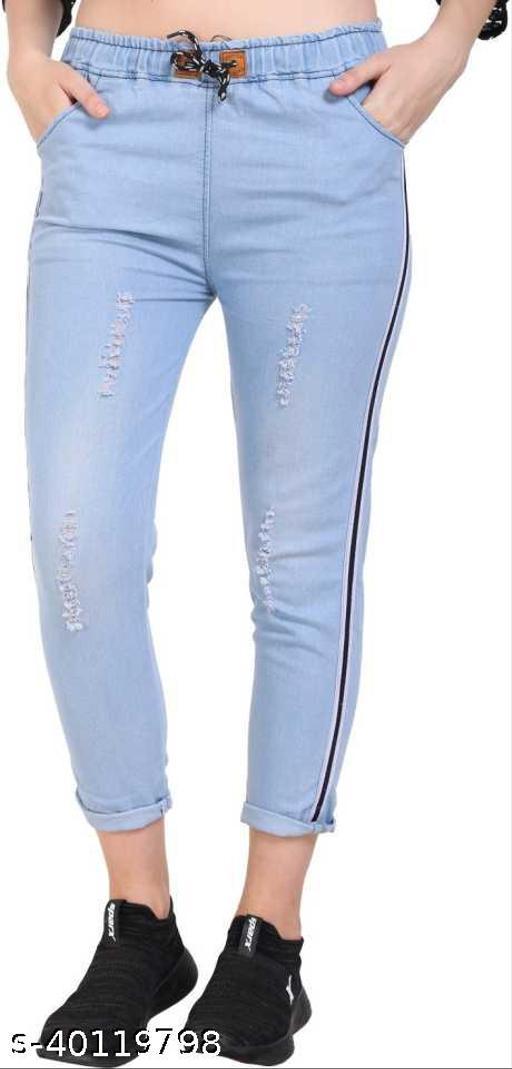 Side Striped Jogger Fit Women Light Blue Jeans