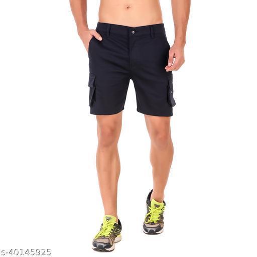 Delexo Men's Navy Blue Pure Cotton Cargo Shorts
