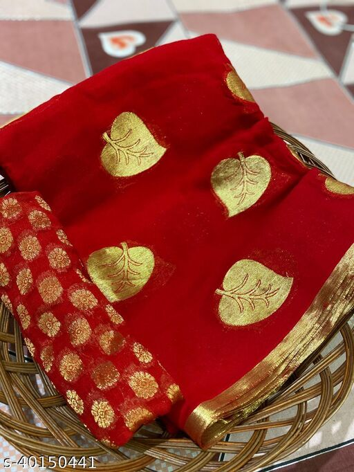WOMEN'S PURE GEORGET VISCOS SAREE WITH BLOUSE PEICE