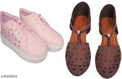New Fashion Sneaker, Flats for Women & girls(Pack of 2)